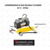 Peraline - Compresseur d air double cylindre 12v / 10 bars + mano