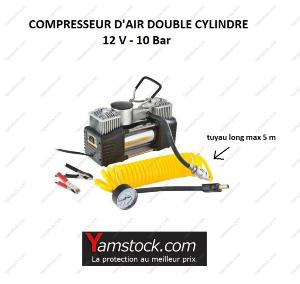 Compresseur d air double cylindre 12v / 10 bars + mano