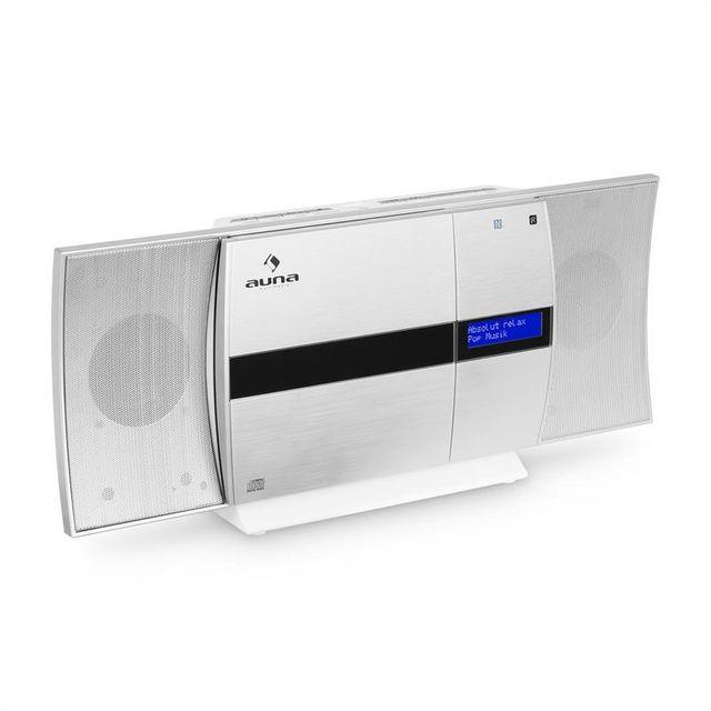 AUNA V-20 DAB Chaîne stéréo verticale Bluetooth NFC CD USB MP3 DAB+ argent blanc