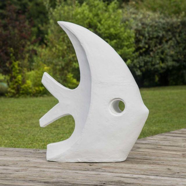 sculpture contemporaine jardin Wanda Collection - Déco jardin contemporaine poisson 78 cm blanc