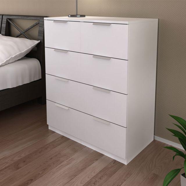 Tousmesmeubles Commode 8 tiroirs Blanc - Loubiac