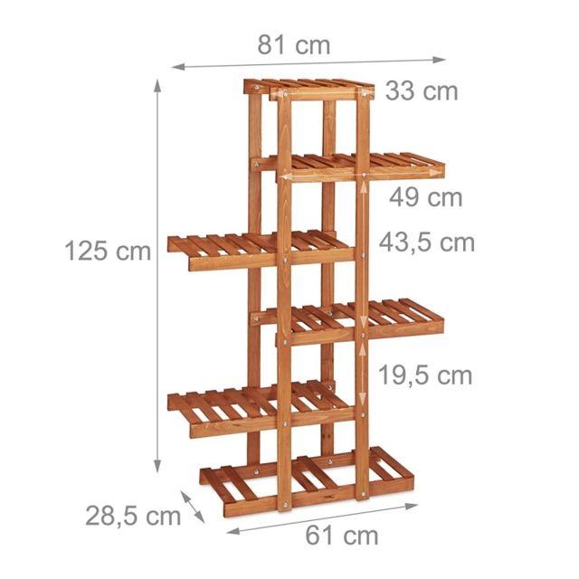 Autre Etagère à fleurs en bois escalier pour plantes 5 niveaux marron clair 2213013