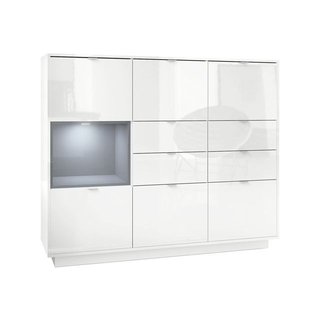 Mpc Buffet design laqu? blanc avec insertion gris