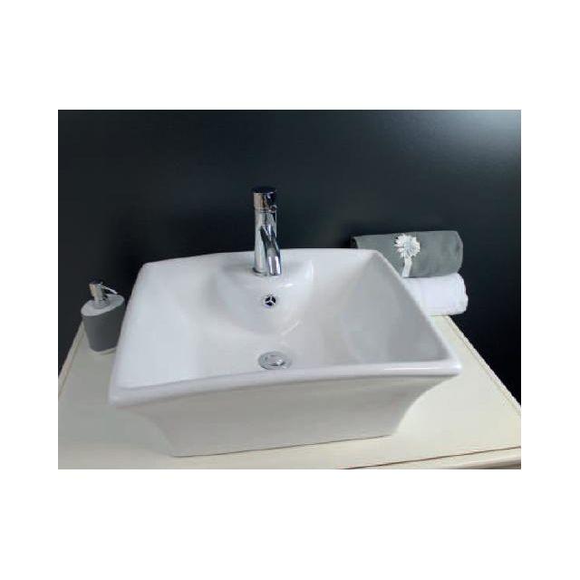 vasque a poser blanche Aqua + - Aqua+ - Vasque en céramique blanche à poser 48x48 cm - Vesuve