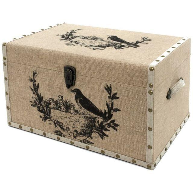 chemin de campagne grand coffre grande malle de rangement bois toile de jute oiseau 59x41x35. Black Bedroom Furniture Sets. Home Design Ideas