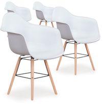 Menzzo - Lot de 4 chaises scandinaves Ralf Blanc