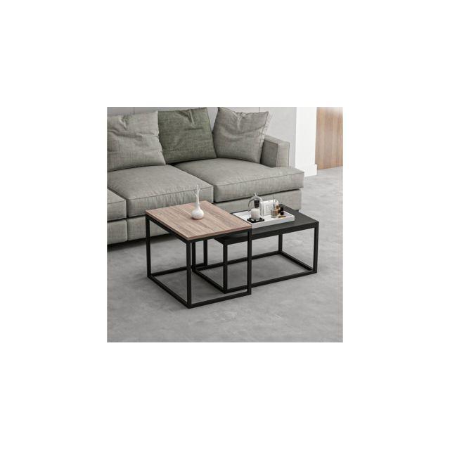 Homemania Table Basse Leka Compacte Modulable - pour Salon, Canapé - Noyer, Noir en Bois, Métal 60 x 47 x 45 cm