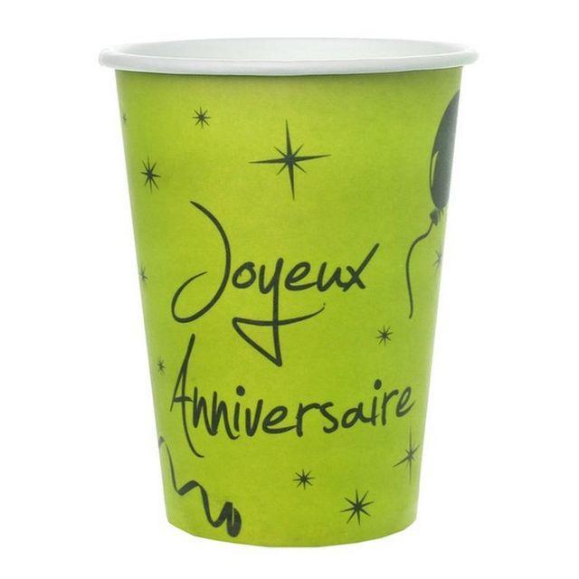 20 Serviettes Vert anis Noire Joyeux Anniversaire 1001decotable