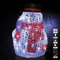 Féérie Lights & Christmas - Décoration de Noël d'extérieur Lumineuse - H. 28 cm - Bonhomme de neige