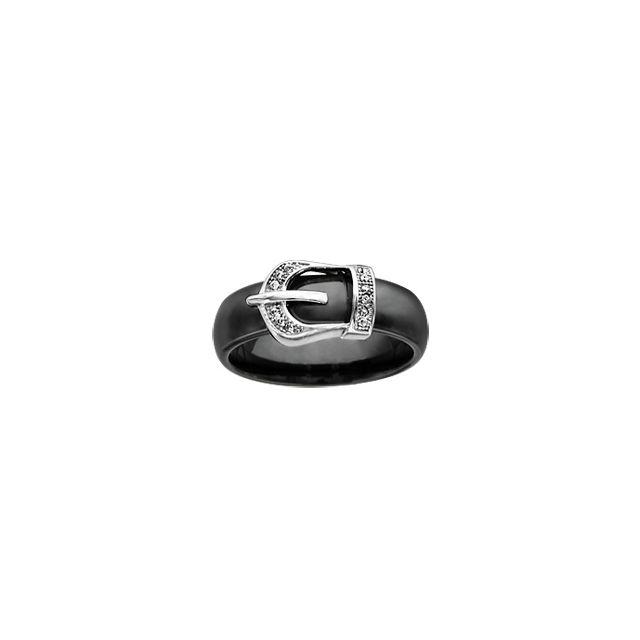 1001BIJOUX Bague argent rhodié céramique noire motif ceinture