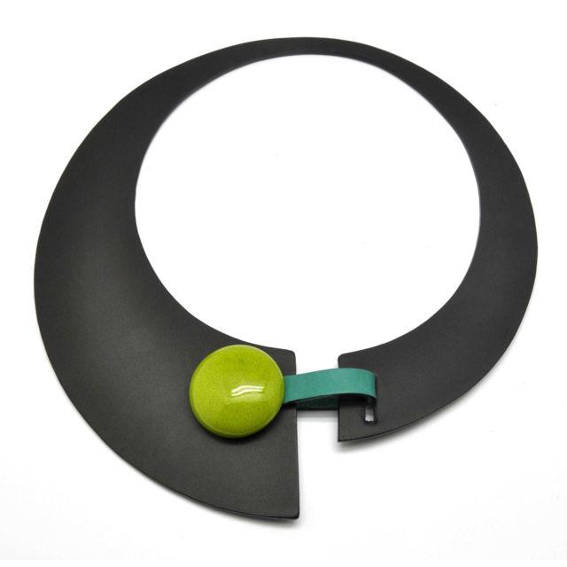 Ceraselle Collier Large cuir et céramique Noir et vert