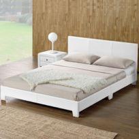 Lit complet + tête de lit + cadre de lit Simpli - Blanc - 160x200