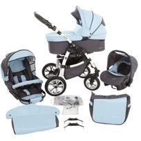 LUX4KIDS - Macano 3 en 1 Poussette Trio Nacelle Siège auto Poussette Canne Roues pivotantes Accessoires M068 blanc / ciel bleu gris