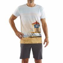 Arthur - Pyjama court : Tee-shirt bleu ciel imprimé plage et short anthracite