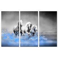 Declina - Vente tableau triptyque deco chevaux blancs - Cadre deco toile