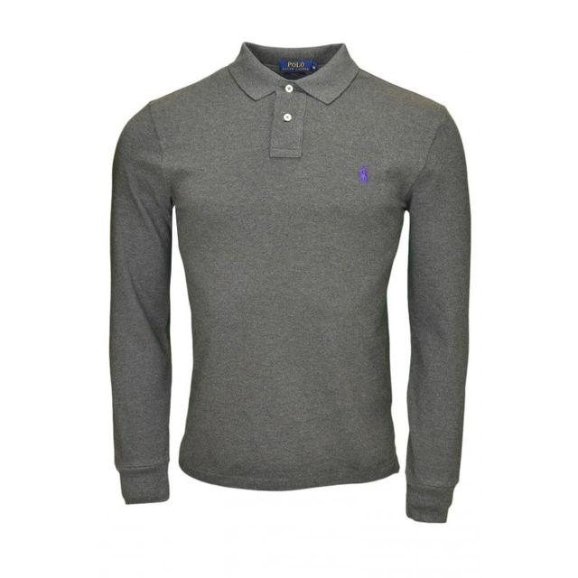 Ralph Lauren - Polo 2 boutons manches longues gris pour homme - pas cher  Achat   Vente Polo homme - RueDuCommerce a3fc0d1d2c8