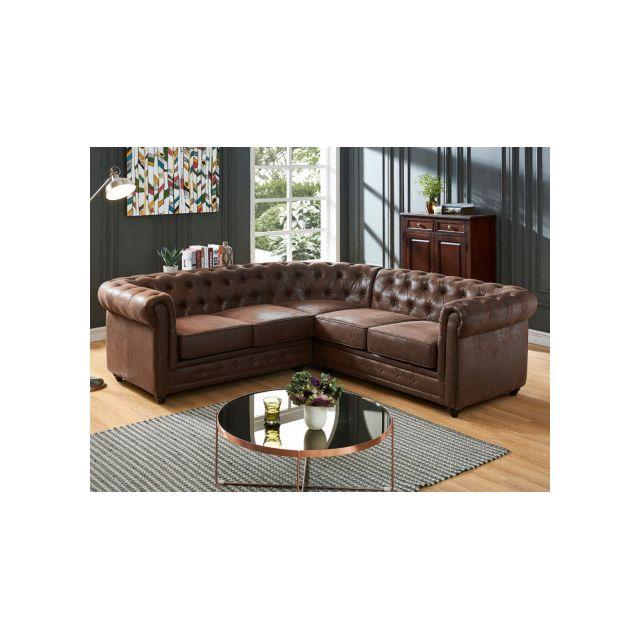 meilleur site web 4b128 78d12 Canapé d'angle Chesterfield en microfibre aspect cuir vieilli