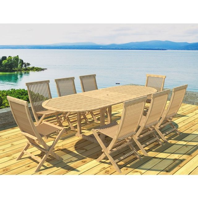 Paris Prix Table Ovale Teck 180/240cm & 8 Chaises Naturel