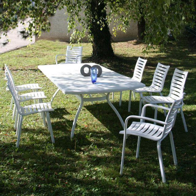 Evolutif - Salon jardin Résine 8 places : table 210/265 Floris + 6 ...