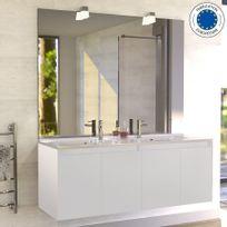 Creazur - Meuble salle de bain double vasque Proline 140 - Blanc brillant