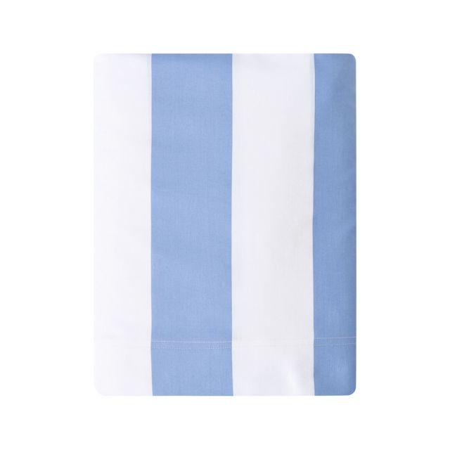 essix drap plat holidays en satin de coton bleu provence 270 x 300 cm pas cher achat. Black Bedroom Furniture Sets. Home Design Ideas