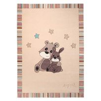 Esprit Home - Tapis enfant 100% acrylique tufté main lapin Little Best Friends - Crème - 170x240cm