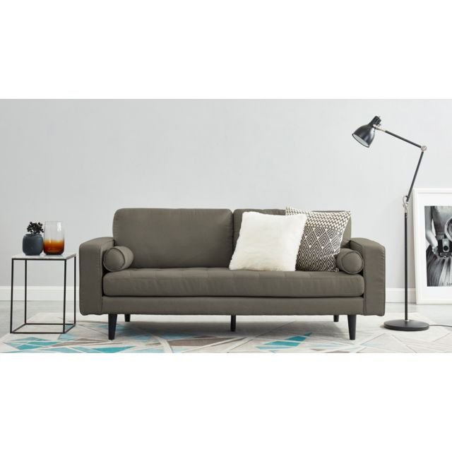HOMIFAB Canapé droit 3 places en tissu taupe - Collection Charly