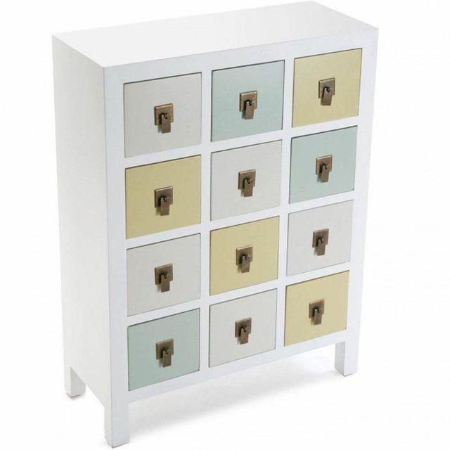 Inside 75 Commode Otantik blanc style collonial 12 tiroirs