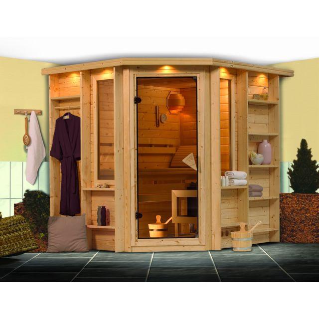 karibu sauna traditionnel cortona 1 premium couronne 40 mm avec po le 8 kw pas cher achat. Black Bedroom Furniture Sets. Home Design Ideas