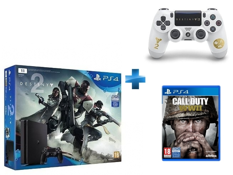 Pack PS4 1 To Black + Destiny 2 + Dual Shock Destiny 2 - PS4 + Call of Duty WWII - PS4