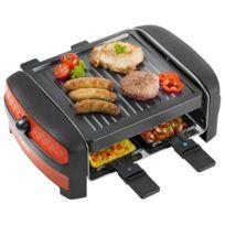 BESTRON - Raclette gril 600W avec thermostat pour 4 personnes - en rouge