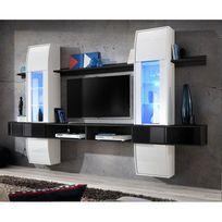"""Paris Prix - Meuble Tv Mural Design """"Comet I"""" Blanc & Noir"""
