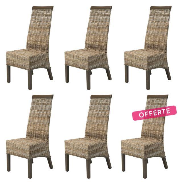 Rotin design lot de 6 chaises berlin en kubu pas cher Chaise de salle a manger en rotin pas cher