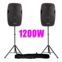 """Vexus - Enceintes Dj Actives 12"""" 1200W Sono + Pieds"""