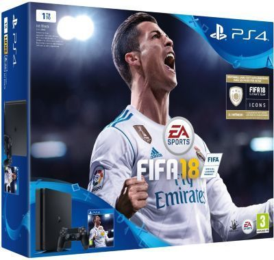 Pack PS4 SLIM 1To E Noire + FIFA 18