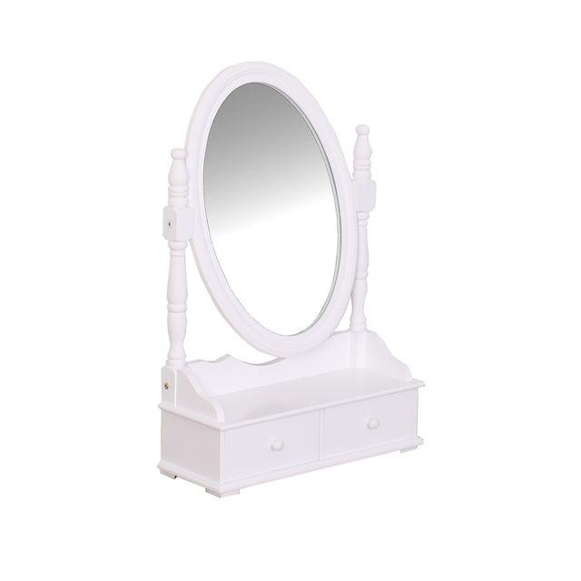 Coiffeuse grand miroir avec 2 tiroirs range bijoux - Blanc