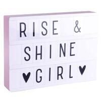 A Little Lovely Company - Lightbox A4 - Boite lumineuse Led Blanc & Rose + 85 lettres et symboles H21cm - Lampe à poser designé par