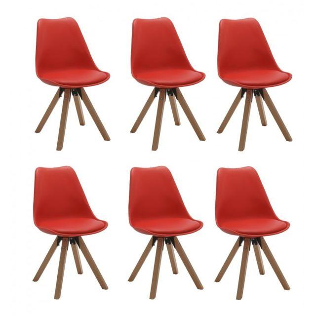 Autre Set de 6 chaises de salle à manger design simili-cuir rouge pieds bois Cds09228