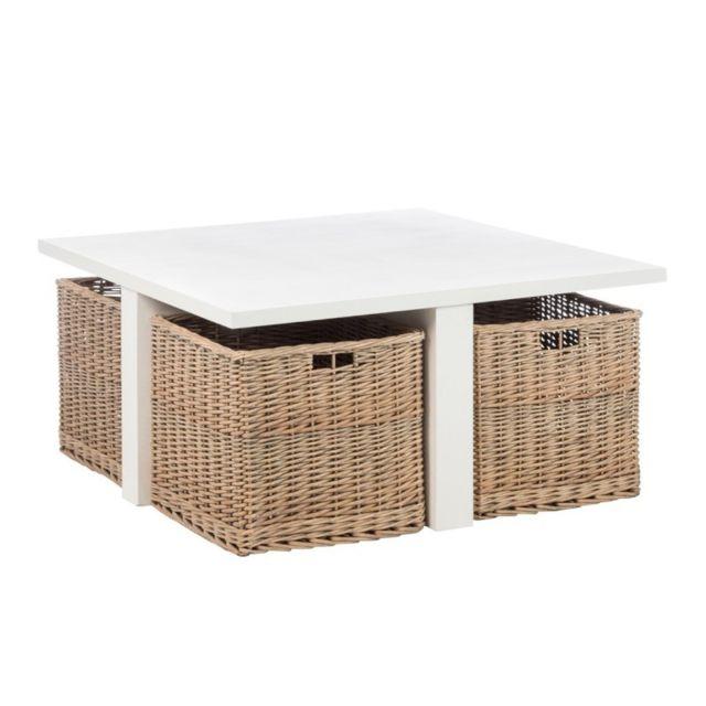 J-line Table de Salon carrée à paniers en Bois Blanc