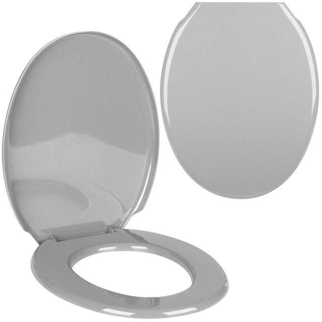 Promobo - Abattant De Toilettes Cuvette Wc Design Uni Gris Argenté ...