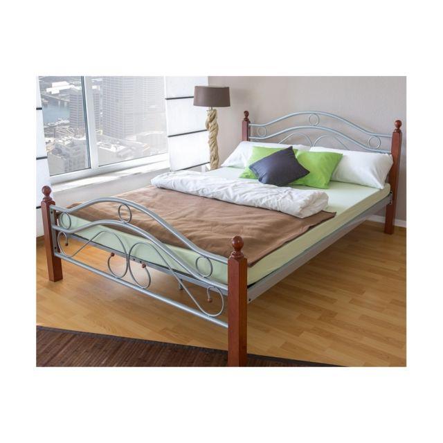 homestyle4u design metal lit double 180 x 200 cadre de lit lattes bois neuf argent brun marron. Black Bedroom Furniture Sets. Home Design Ideas