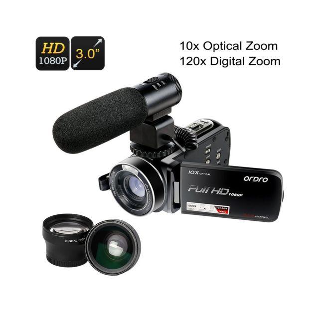 Auto-hightech Kit caméscope de poche 1080p - Téléconvertisseur, Objectif grand angle, Micro externe, Cmos 1/4