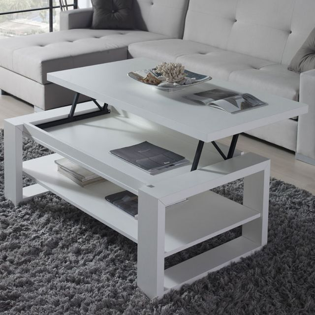 Nouvomeuble Table salon relevable blanche design Tarn 2