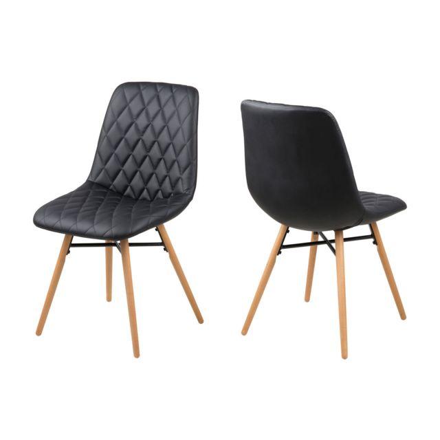 Set de 2 Chaises Fila Noir / Chêne