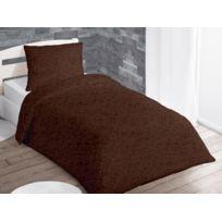 Intemporel - Parure housse de couette 140x200 cm Galaxia chocolat