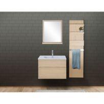 Ensemble Salle De Bain Chêne 80 Cm Meuble Vasque Miroir Module Rangement Enio