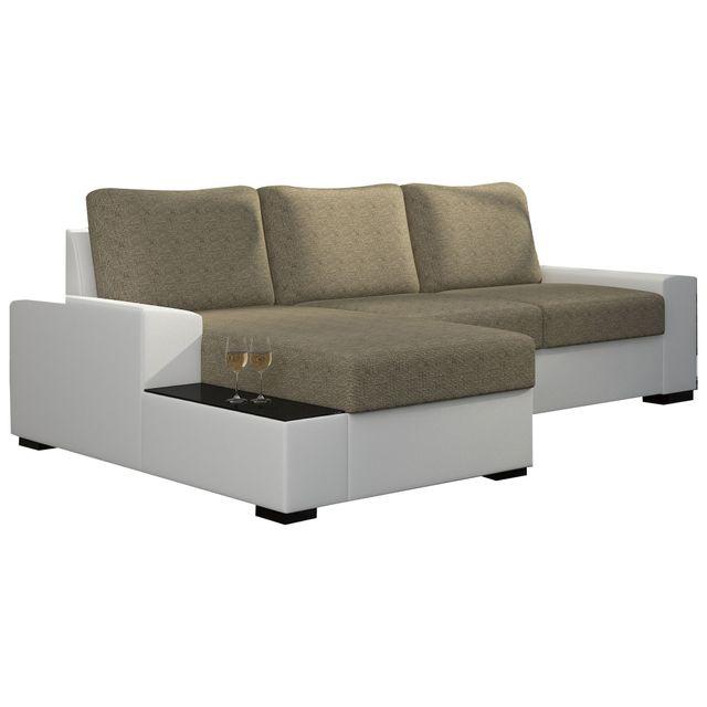 COMFORIUM - Canapé d angle convertible 3 places en tissu beige et pvc blanc  avec 8a0f2ad438e1