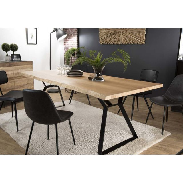 MACABANE Table à manger 230x100cm Chêne pieds métal