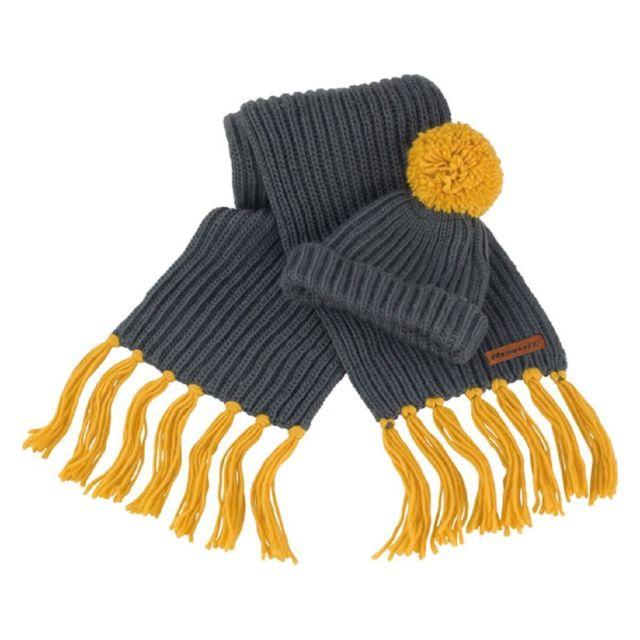 Result - Set bonnet à pompon et écharpe à franges grosses mailles - R362X -  gris 6d74404f6ff