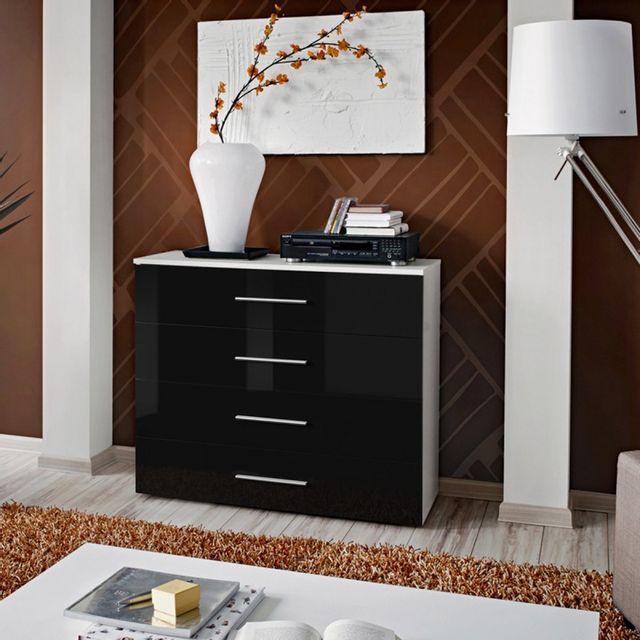paris prix commode 4 tiroirs go 100cm noir blanc. Black Bedroom Furniture Sets. Home Design Ideas